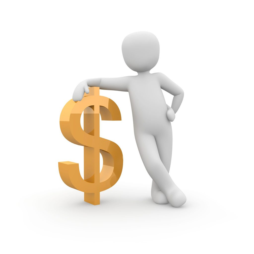 White figurine leaning on a dollar sign