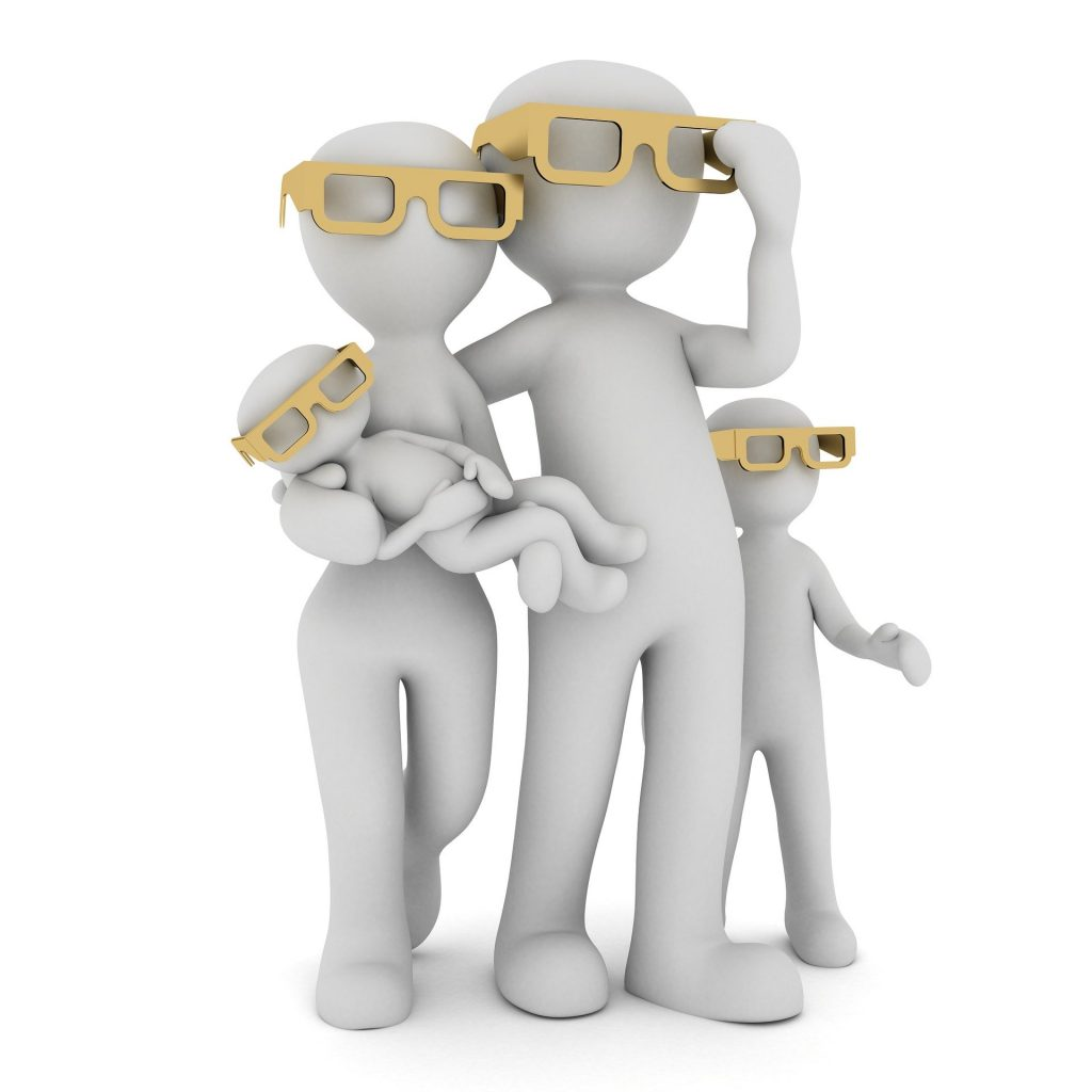 Family of four white figurines with golden sunglasses